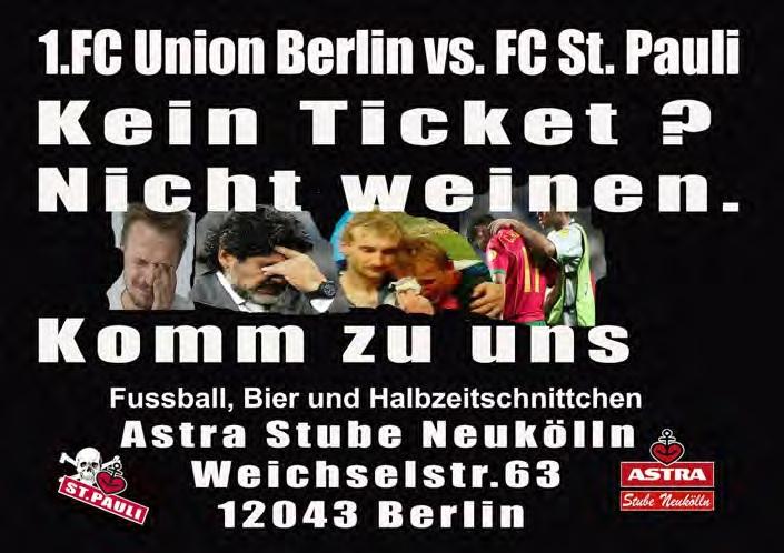 Das Spiel Union - St.Pauli live in der Astrastube gucken
