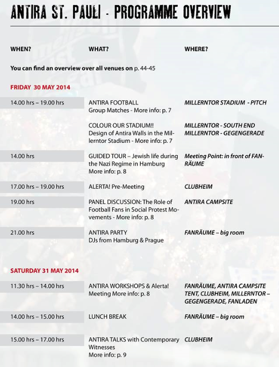 Antira-Turnier St.Pauli 2014 - Programm Teil 1